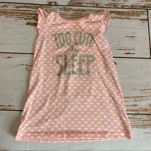 Little Girl Nightgown. Pink with White Hearts